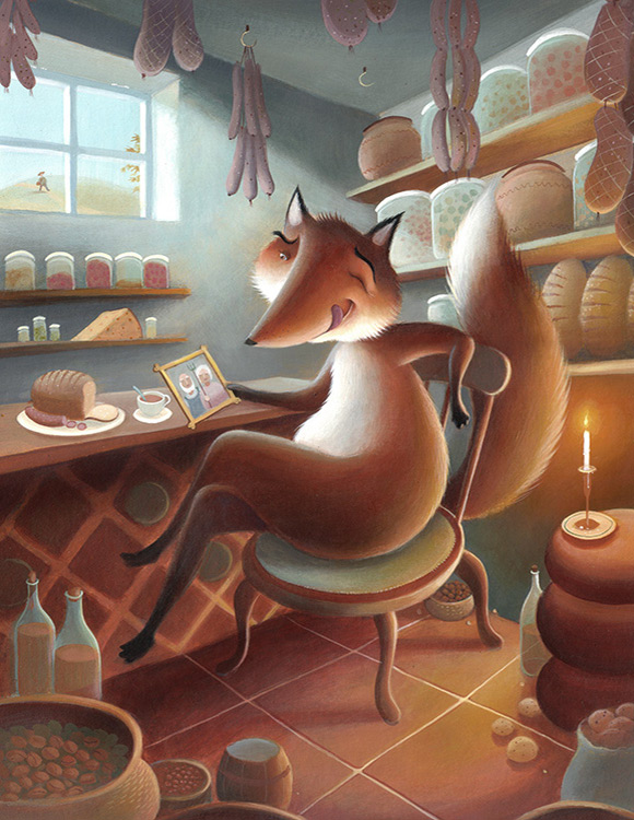 Mr Fox sitting in the farmers kitchen, helping himself to bread and cheese. Bushy tail. Richard Johnson Illustrator