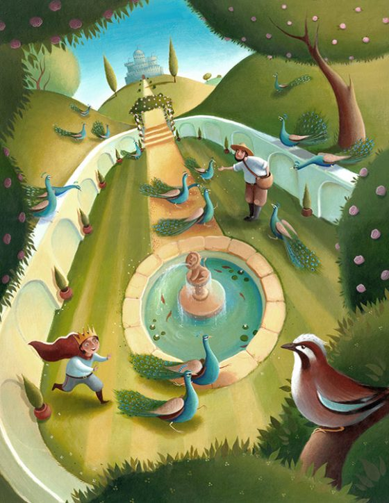 The King's Garden. The young prince chases peacocks around the garden, a Jay looks down from a tree. Richard Johnson Illustrator