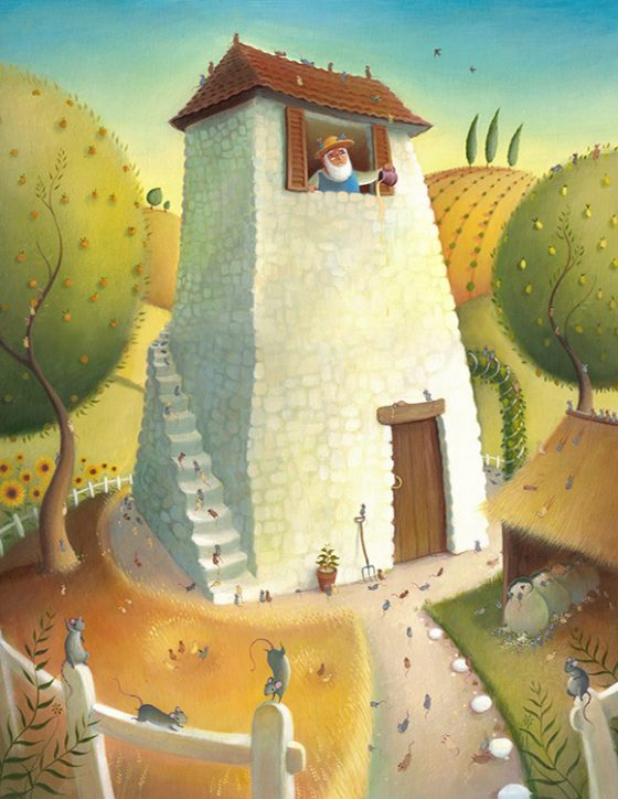 A Farmer throws out spoilt honey, his farm is overrun by mice. Summer fields and white house. Richard Johnson Illustrator