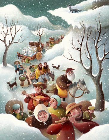 A lone wolf looks down upon a procession of people, walking, riding, playing instruments and talking. Its snowing. Richard Johnson Illustrator