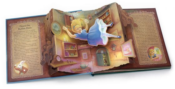Alice falling down the rabbit hole. Cupboards and clocks, shelves and jars. Alice in Wonderland. Richard Johnson illustrator.