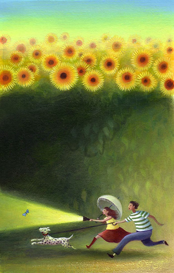 A dark field full of sunflowers, a young couple chase a butterfly, the man holds a torch. A Dalmatian dog runs ahead. Richard Johnson Illustrator