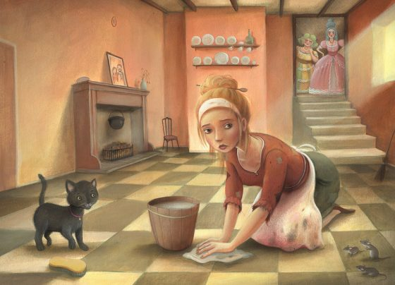 Cinderella Scrubbing the Floor