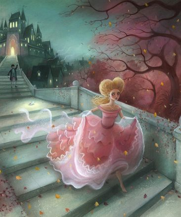 Cinderella on staircase losing her glass slipper. Clock striking midnight. Richard Johnson Illustrator