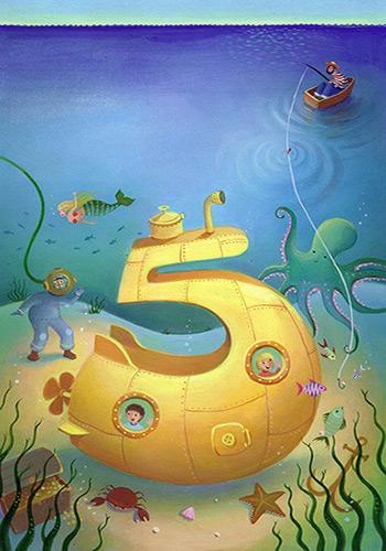 Painted artwork. Submarine yellow. Number 5, deep sea diver. Richard Johnson illustrator.