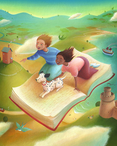 Birds eye view of a flying carpet book. Two children and a dog ride the book over a castle and fields through the clouds. Richard Johnson Illustrator