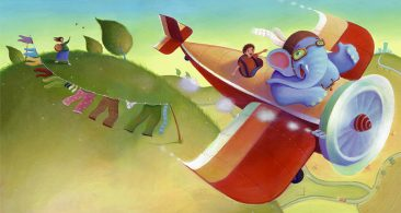 Red plane and big blue elephant. Flying over fields and waving to mum. Richard Johnson Illustrator