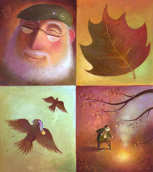 Grandpa and a leaf in autumn colours. Memories of the past, birds fly with medals. He burns leaves in a bonfire. Richard Johnson Illustrator