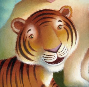 Tiger character drinking lemonade, taken from the Amazing-Speaking-Zoo-a-Phone. Richard Johnson Illustrator