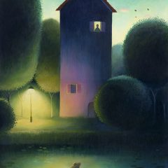 A dark house stands by a river at dusk. A man rows past illuminated by an outside lamp, a figure stands at an upstairs window. Richard Johnson Illustrator