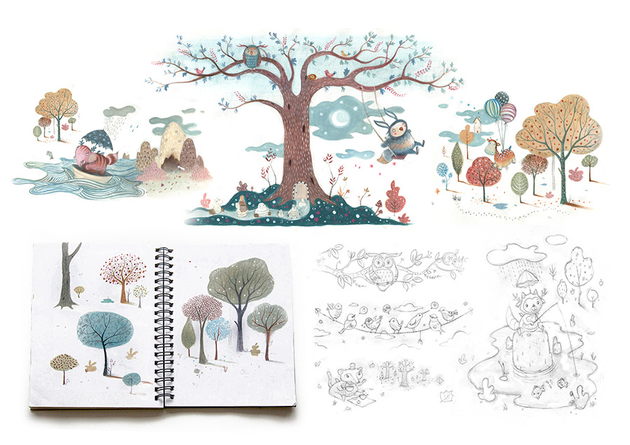 Sketchbook drawings for Liberty of London magical forest mural artwork. Richard Johnson illustrator.