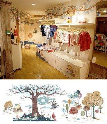 Mural artwork painted on the walls of the children's department of Liberty London. A magical forest full of little creatures. Richard Johnson Illustrator