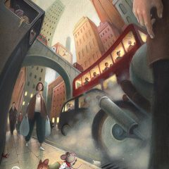 Two little mice in the big city, they're surrounded by traffic, buses, motorcycles and smoke. Worms eye view perspective, looking up at the skyscrapers. Richard Johnson Illustrator