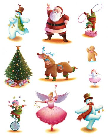 Christmas characters for Marks and Spencer Christmas food packaging. Richard Johnson illustrator.