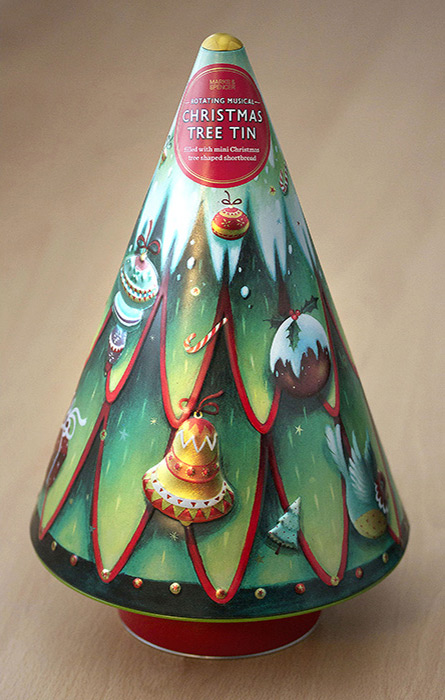 Decorative Christmas tree biscuit tin design. Richard Johnson illustrator.
