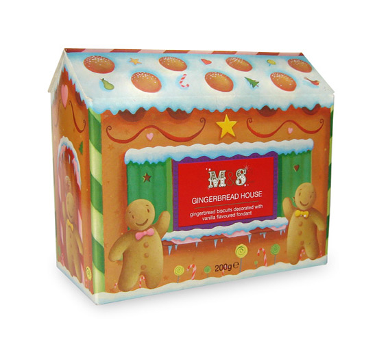 Gingerbread House packaging design. Marks and Spencer. Richard Johnson illustrator.