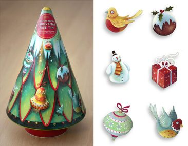 Christmas tree biscuit tin by Marks and spencer. Richard Johnson Illustrator