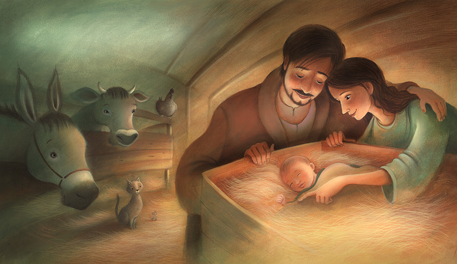 The birth of baby Jesus. Mary and Joseph look down on the newborn in the crib. The animals look on. Richard Johnson Illustrator