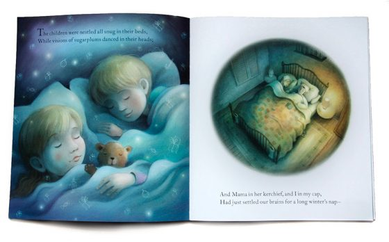 Sleeping Children in bed with Teddy Bear. Richard Johnson illustrator.