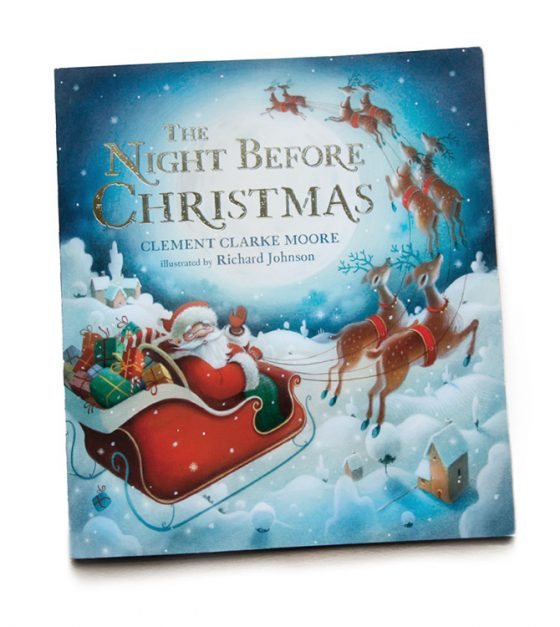 The Night Before Christmas. Santa in sleigh pulled by reindeer. Richard Johnson illustrator.