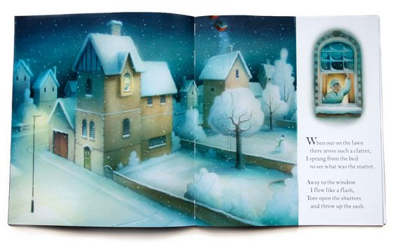 He looked out of the window and saw tracks in the snow. Houses covered in snow, quiet. Christmas Eve. Richard Johnson Illustrator