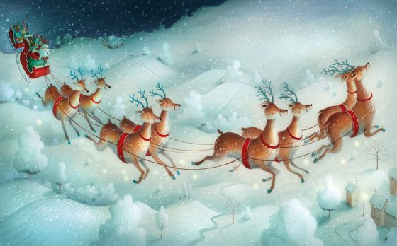 Father Christmas and his reindeer flying over snowy fields, small houses below. Richard Johnson Illustrator