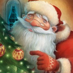 Santa looking at baubles on a Christmas tree. Richard Johnson Illustrator