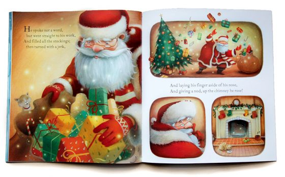 Santa delivering presents. Panelled artwork. Magic, presents, Christmas Tree. Richard Johnson illustrator.