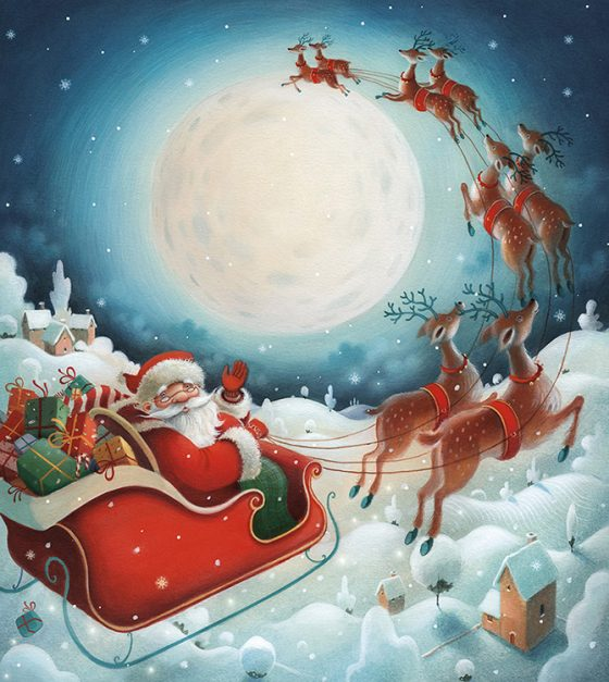 Father Christmas in sleigh flying over snowy fields. Presents and reindeer. Richard Johnson illustrator.