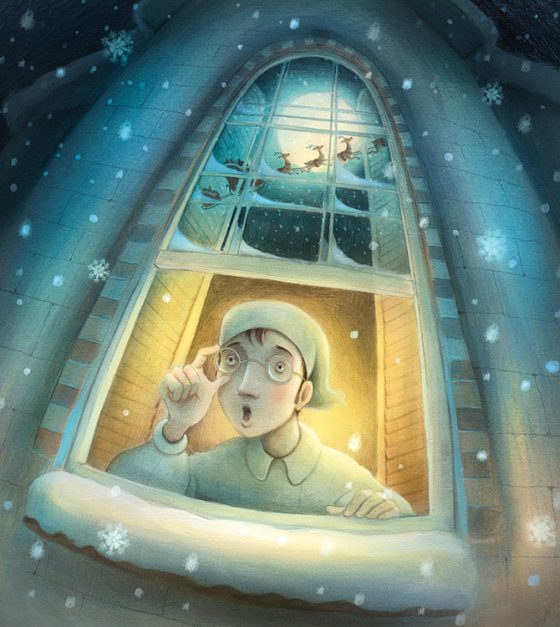 Man opening window looking out into the snowy night to see Santa Flying over head in his sleigh. Richard Johnson illustrator.