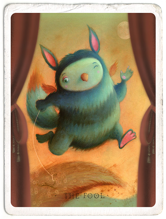 Little creature with a worm for a pet. He has stripy fur and is about to fall off a cliff. Richard Johnson Illustrator