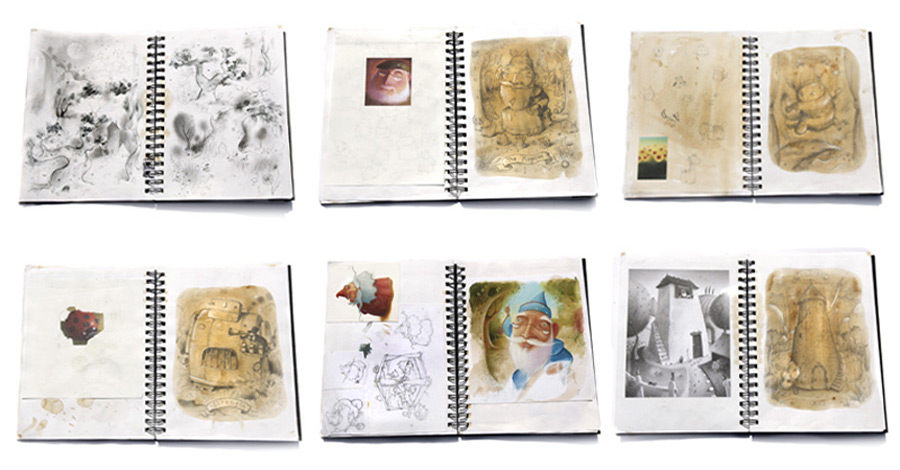 Sketchbook samples showing character and compositional development. Richard Johnson Illustrator