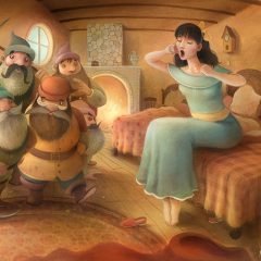 The Seven Dwarves return home to find Snow White waking up in their bedroom. A fireplace and rug in a small room. Richard Johnson Illustrator