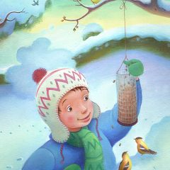 A Boy dressed in warm winter clothes, a blue coat and green scarf. He is feeding birds. Richard Johnson Illustrator