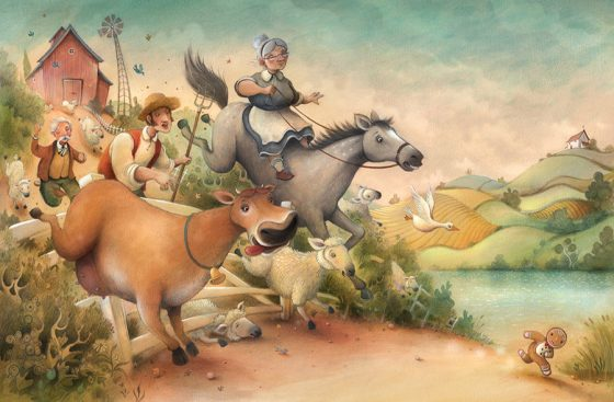 Gingerbread man running from a mob of animals and people who are chasing the tasty little chap. Richard Johnson Illustrator