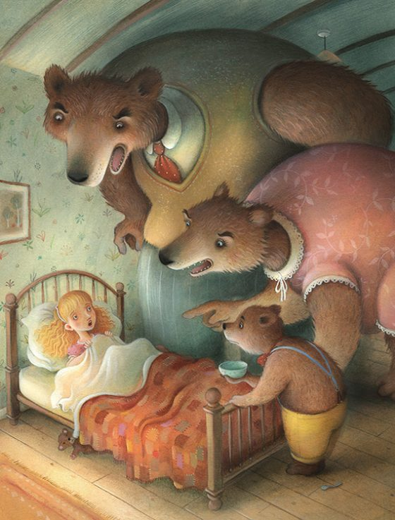 Goldilocks is caught sleeping in the Little Bears bed. She wakes to find the whole family towering over her, Daddy Bear isn't happy. Richard Johnson Illustrator