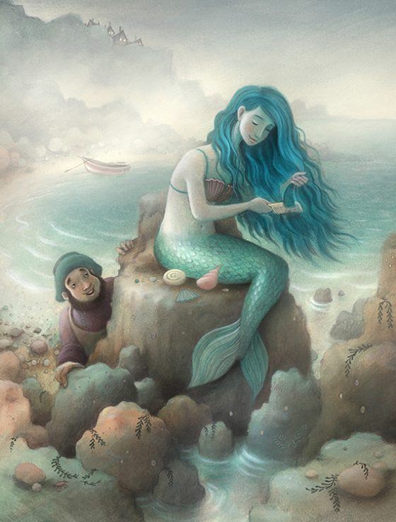 Hywel and the Mermaid. She combs her blue hair while sitting on a rock collecting shells. Richard Johnson Illustrator