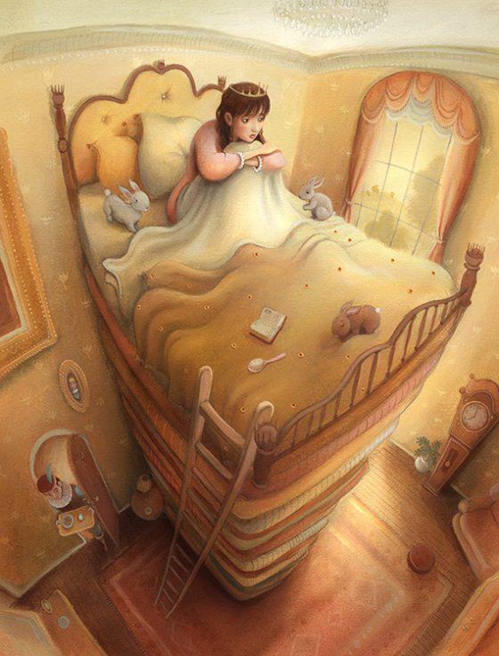 Princess sleeping in bed with pea. Rabbits and mattresses. Richard Johnson illustrator.