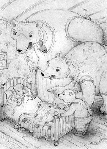 Drawing for Nursery Tales published by Usborne. Richard Johnson illustrator.