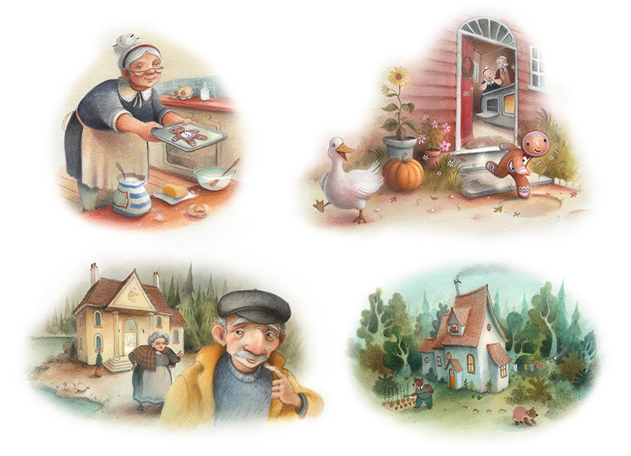 Gingerbread man vignettes. Old woman creates the gingerbread man. The Gingerbread man makes a run for it through the open door. A little house in the countryside owned by three bears. Richard Johnson Illustrator