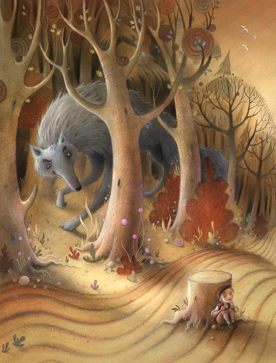 The Wolf lurks in the shadows of the forest. The boy hides behind a large tree stump uncertain if the Wolf has spotted him. Autumn. Richard Johnson Illustrator