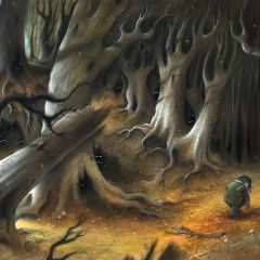 The Wild Wood, Moley looks over his shoulder feeling anxious, is he being watched? Eyes light up in the darkness of the deep wood. Richard Johnson Illustrator